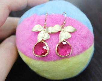 Gold orchid flower earrings,Long Floral Dangle hot pink rhinestone Earrings,Romantic wedding earrings,bridemaids earrings,Orchid Earrings,