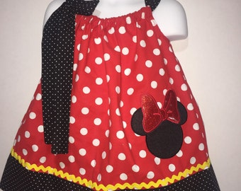 Minnie Mouse Mickey Mouse Girl Pillowcase Pillow Case Girl Birthday Party Boutique Summer Sun Dress! Sizes 18 Months 2 3, 4, 5, 6, 7