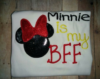 Mickey Minnie Mouse is my BFF Boutique Birthday Party T-Shirt Shirt Girl Girls! Optional Bow Available! Sizes  2 ,3, 4, 5, 6, 7, 8, 10 12