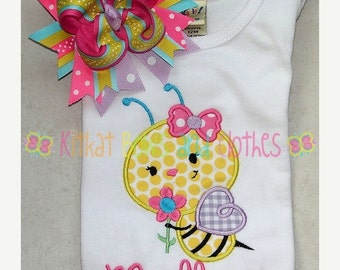 O SALE Busy Bumblebee and Flower Applique Shirt and Matching Hairbow - Girl - Bumblebee - Flower - Happy