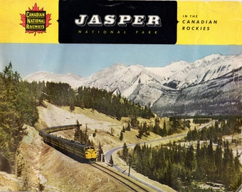 Vintage 1950s Jasper National Park Canadian National Railways Brochure Book Large Booklet Rockies