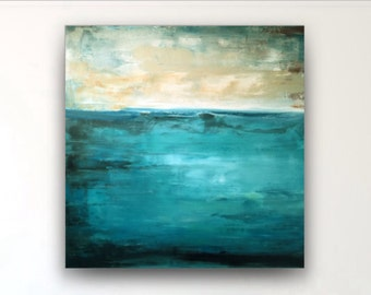 36x36 abstract painting,teal black gray beige,large abstract,seascape abstract,original abstract,acrylic canvas,big wall art,large abstract