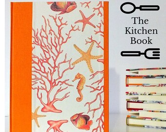 KITCHEN RECIPES BOOK - Orange  kitchen book 17,5 X 24,5 cm - Coral Cookbook A5 divided by arguments