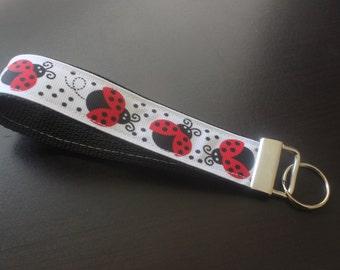 White ladybug  keychain/keyfob/wristlet