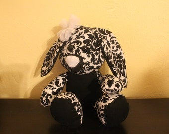 Black and white damask stuffed bunny/plushie/east rabbit with removable bow