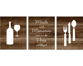 Rustic Kitchen CANVAS Or PRINTS, Fork And Spoon Wall Decor, Wine Glass Art,