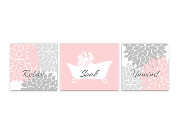 Items similar to bathroom wall art pink and grey bathroom for Pink grey bathroom accessories