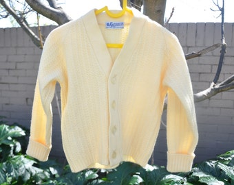 Mint Condiition size 3-4 Lemon 70's Knitted Cardigan