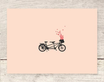 Bicycle for Two + Hearts, Love Greeting Card, Tandem Bike, Anniversary Card, Valentine's Day