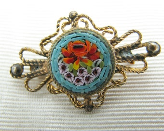 Lovely Vintage Micro Mosaic Filigree Brooch in Blues and Reds