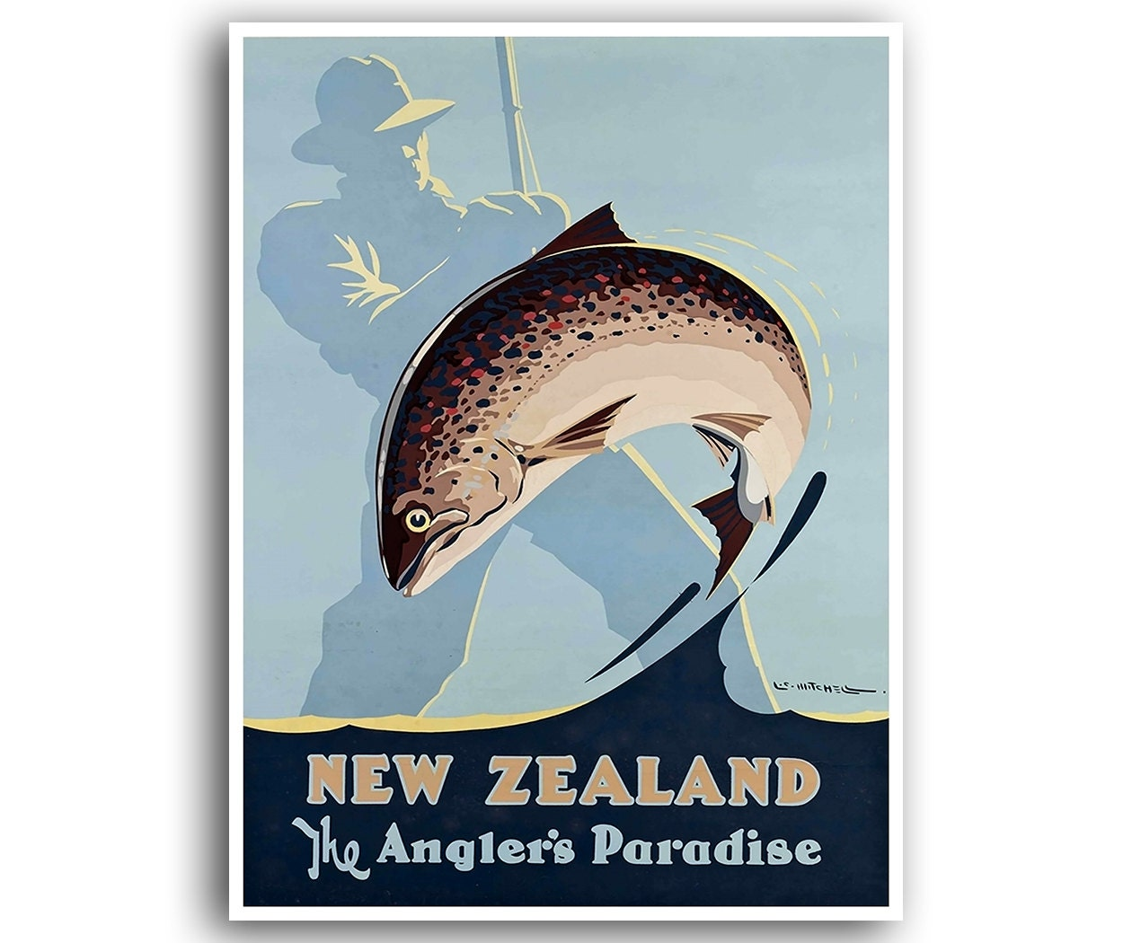 New Zealand Travel Poster Fishing Home Decor Retro Wall Art