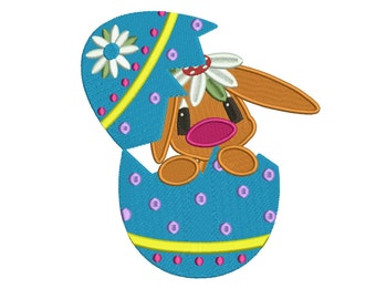 Bunny Inside Egg Filled Machine Embroidery Digitized  Design Pattern - Instant Download - 4x4, 5x7, 6x10