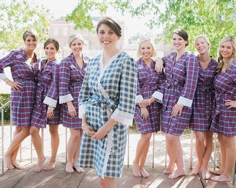 Brides Flannel  Plaid Robe.-Soft flannel robe with lace neckband, can be monogrammed, Getting Ready Robes, dressing gown, wedding robe