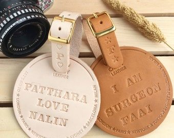Personalized Luggage Tag Leather, Engraved Luggage Tag , Custom Luggage Tag , Travel Accessories