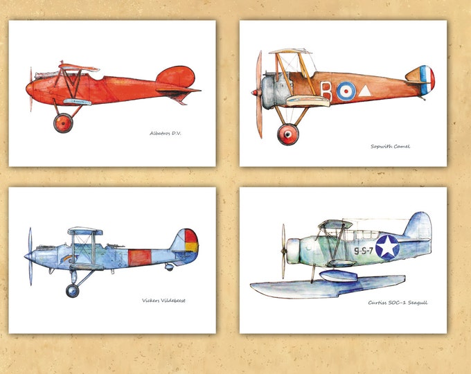 Boys airplane nursery decor Set 4 prints Vitage plane Poster Boys art Airplane painting Aviation art Retro avia Baby boy nursery wall art