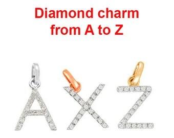 A to Z Initial Diamond Charm in 14K Gold, Diamond Charm, Initial Charm, Delicate Charm