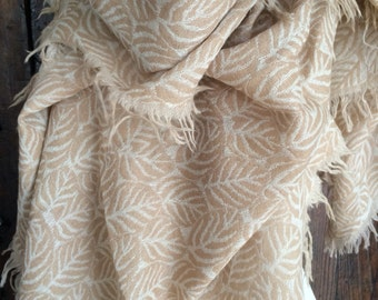 Cosy merino wool shawl in golden sand design