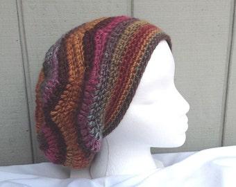 Womens crochet beanie - Slouchy hat - Multi-colored beanie - Teens accessories