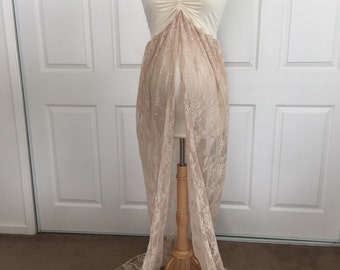 Sale Price!!!!! Cream/Champagne Jersey/Lace Maternity Gown, Maternity Dress, Maternity Photo Props, one size fit most