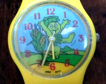 RARE Vintage Retro Estate Jolly  Green Giant Little Sprout Wrist Watch in Promo Offer Advertising Yellow Watch Band