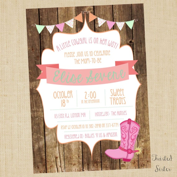 little cowgirl baby shower invite cowgirl baby shower invitations
