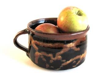 Vintage American Ceramic Mug Rick Urban American Pottery 1980s North Carolina Pottery Small Pottery Mug Studio Pottery Brown