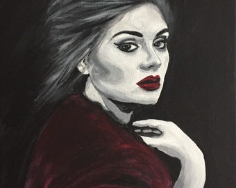 Adele painting, Black White Red painting of Adele, Adele Red lips, Adele red lips, Black and white painting of Adele,Adele  Adkins