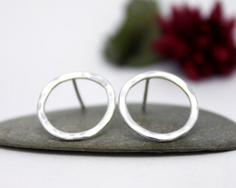 Sterling Silver Circle Earrings, Circle Post Earrings, Hook Earrings, Hammered Earrings, Simple post earrings, Handmade Silver Earrings.