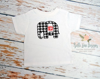 Alabama Elephant Houndstooth Toddler Tshirt with Vine Monogram | Alabama Football | Roll Tide Roll Tshirt Toddler | Bama Outfit | 058