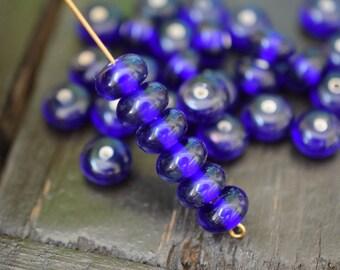 Handmade Royal Blue Lampwork Glass Rondelle Spacer Beads, 6pcs