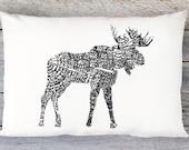 Moose Pillow  - Moose Throw Pillow - 20x14 Lumbar Pillow  - Accent Pillow - Decorative Pillow - Modern Decor - Aldari Home
