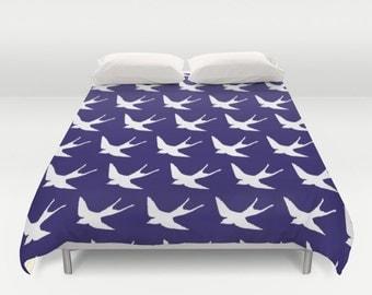 Birds Duvet Cover - Cobalt Duvet Cover - Queen Size Duvet Cover - King Size Duvet Cover
