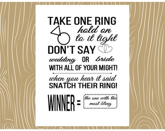 Bridal Shower Ring Game | Don't Say | Wedding | Bride | Ring | Game | Shower Game | Customizable | Print Now | Instant | Fast Shipping | DIY