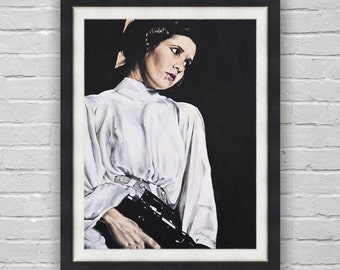 The Princess - Princess Leia / Carrie Fisher with Gun Star Wars A New Hope Fine Art Print