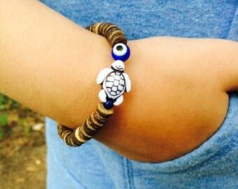 Evil eye bracelet for kids and teens, wooden stretch bracelet