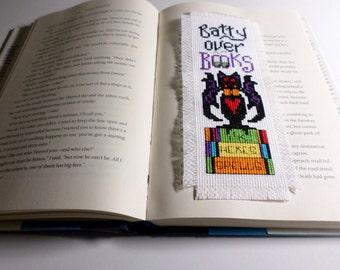 "Cross Stitch Bookmark "" Batty Over Books"""