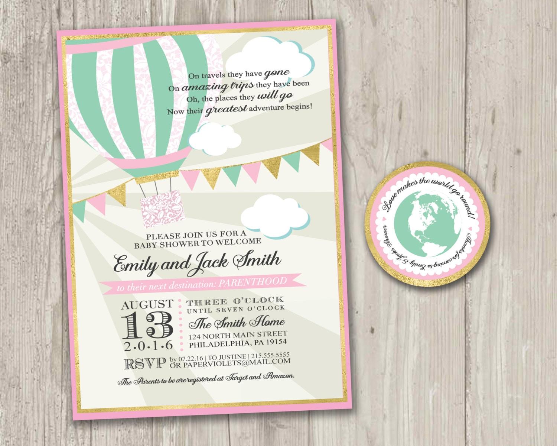 hot air balloon baby shower travel baby shower invitation