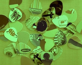 New Assorted Guitar Picks Made from Recycled Plastic Cards (Christmas Only)