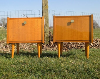 Pair Vintage Nightstands End tables Mid Century Modern Marked Sicame