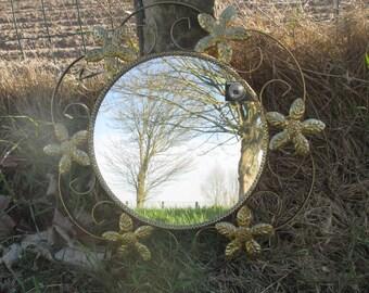 Lovely Sunburst Iron Wall Mirror Mid Century Mirror Gold Flowers