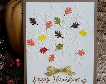 Embossed Thanksgiving Card # Autumn Leaves