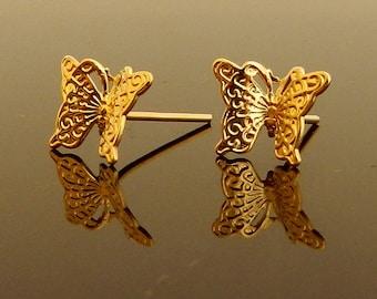 Gold  Butterfly Earrings, Butterfly stud earrings, Israeli designers, nature jewelry,  grauation gift, butterfly stud earrings