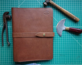 Leather Portfolio handmade in my studio. darker brown.(READY TO SHIP)  Corporate gifts  made easy