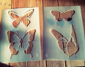 Butterfly set reusable STENCIL for kids room wall interior decor / reusable stencil