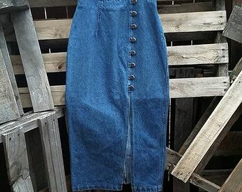 Vintage Denim Buttoned Long Skirt (Size 5)