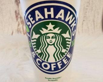 Seahawks,I <3 SEAHAWKS & COFFEE,Personalized Starbucks Cup,Starbucks Seahawks