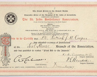 "1937 Dated Metropolitan Policemans ""First Aid To The Injured"" Diploma. Awarded By The St John Ambulance Association."