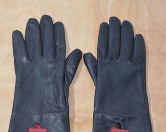 Vintage Estate Black Red Cole Haan Leather Gloves