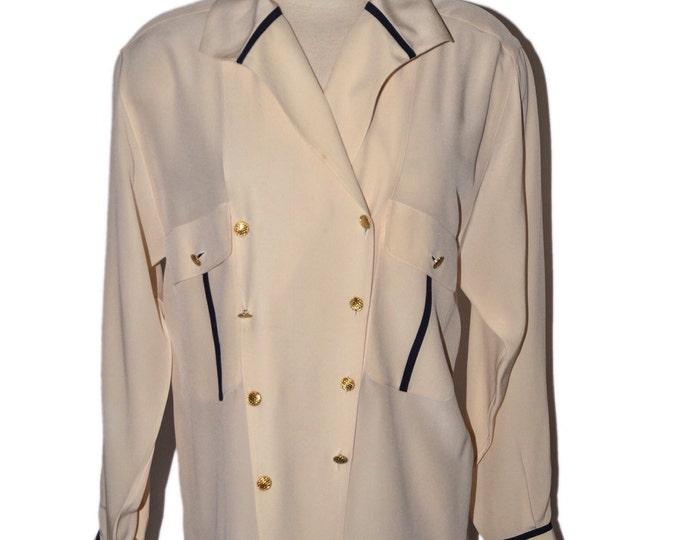 Chanel AUTHENTIC Vintage Estate Beige Black Silk Shirt Gold Button Details Signed