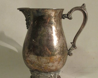 Cream Pitcher, Silver Plate, Shabby, Elegant, Footed